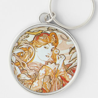 Mucha Woman With A Daisy Art Nouveau Key Chain