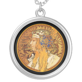 Mucha - Woman with Jewels - Vintage Art Silver Plated Necklace