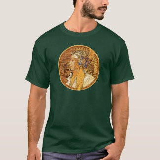 Mucha - Woman with Jewels - Vintage Art T-Shirt