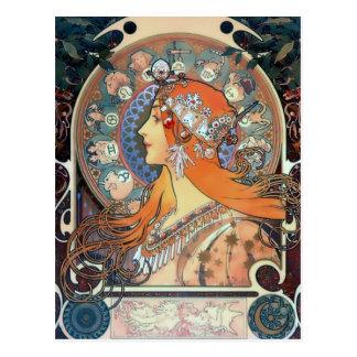 Mucha Zodiac Woman Art Deco Vintage Art Lady Postcard