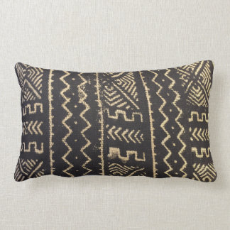 Mud cloth design pillow in warm tones of brown and