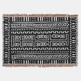 Mud Cloth Pattern Throw Blanket