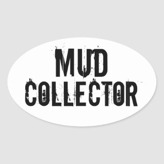 """""""Mud Collector"""" Trail Running Oval Decal B/W Oval Sticker"""