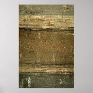 'Muddy' Grey and Brown Abstract Art Poster Print