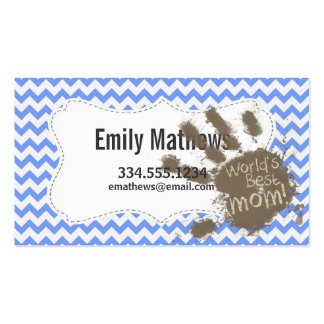 Muddy Hand Print on Blue Chevron Pattern Business Card Template