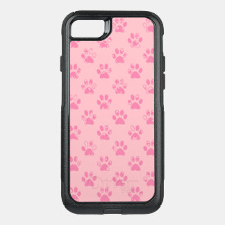 Muddy paw prints in Pink OtterBox Commuter iPhone 8/7 Case