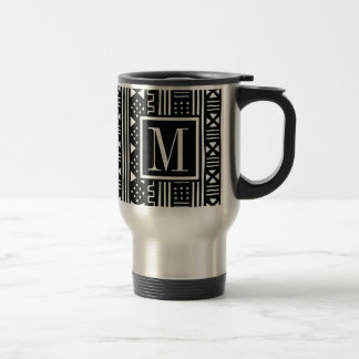 Mudprint Inspired Monogram Black Print Travel Mug