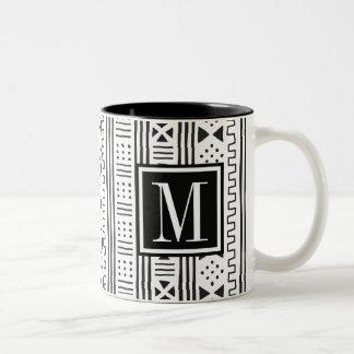 Mudprint Inspired Monogram Two-Tone Coffee Mug