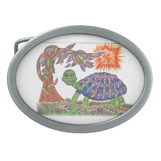Mudpud the Turtle in the Sun Oval Belt Buckle