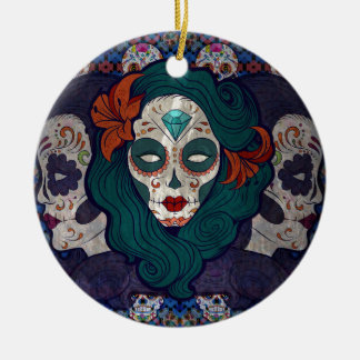 Muerto Ladies Round Ceramic Ornament