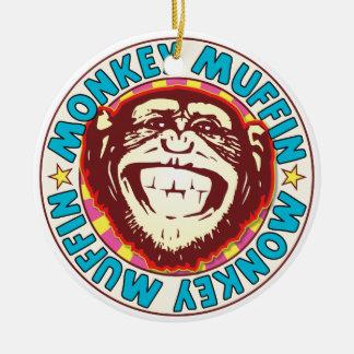 Muffin Monkey Round Ceramic Ornament