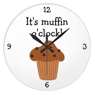 Muffin O'Clock fun food graphic Large Clock