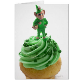 Muffin with green cream for St. Patrick's Day Card