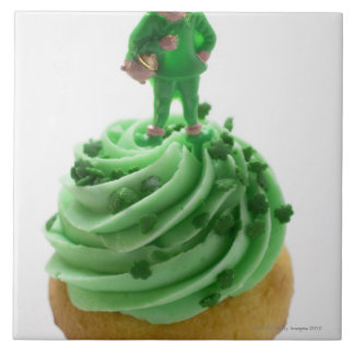 Muffin with green cream for St. Patrick's Day Tiles