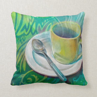 Mug and Spoon with Patterned Background Throw Pillow