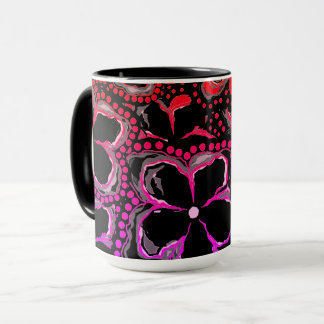 Mug Beautiful Black Pink Orange Flowers