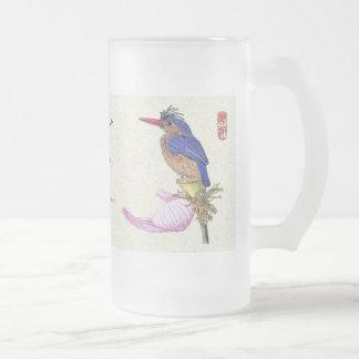 Mug_Bird_Kingfisher Frosted Glass Beer Mug