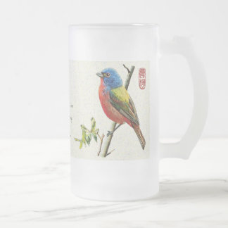 "Mug_Bird_""Vigilance"" Frosted Glass Beer Mug"