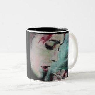 Mug, black and white with 'smoke' painting Two-Tone coffee mug