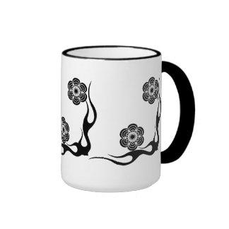 Mug Cup Black White Flowers 1 Coffee Mug