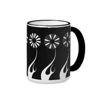 Mug Cup Black White Flowers 2 Coffee Mug