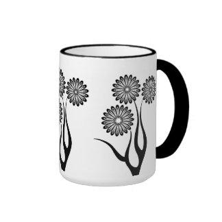 Mug Cup Black White Flowers 3 Coffee Mugs