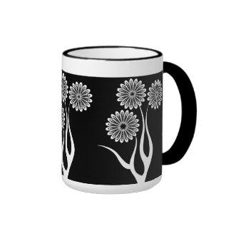 Mug Cup Black White Flowers 5 Mug