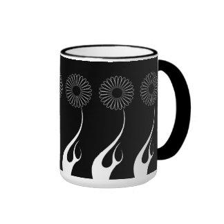 Mug Cup Black White Flowers 6 Coffee Mug