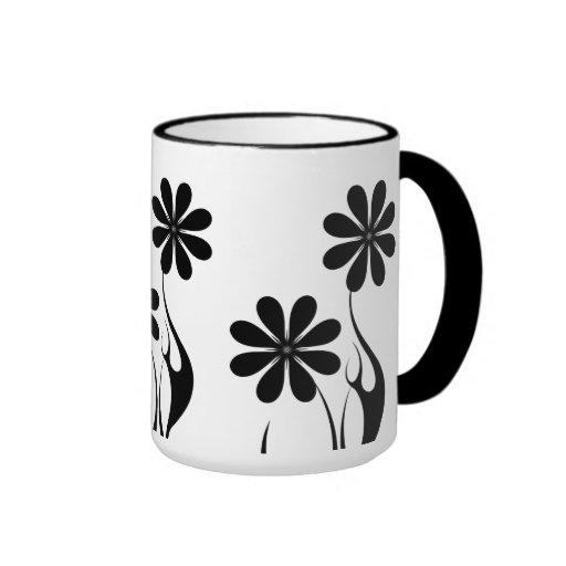 Mug Cup Black White Flowers 8 Coffee Mugs