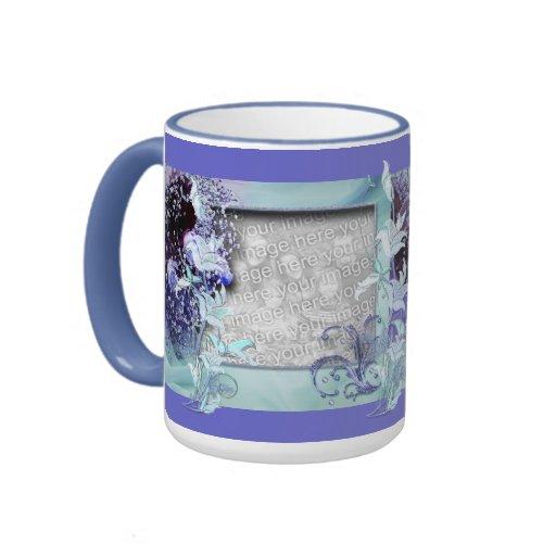 Mug Cup Blue Mauve Floral Add Photos Coffee Mug