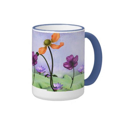 Mug Cup Mauve Blue Garden Floral Mugs