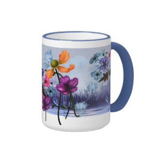 Mug Cup Mauve Pink Blue Garden Floral