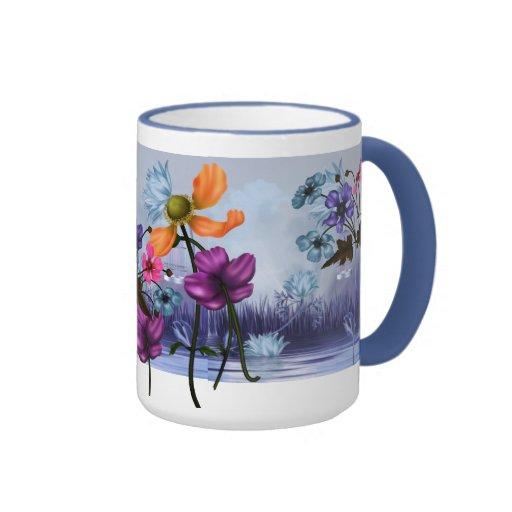 Mug Cup Mauve Pink Blue Garden Floral Mugs