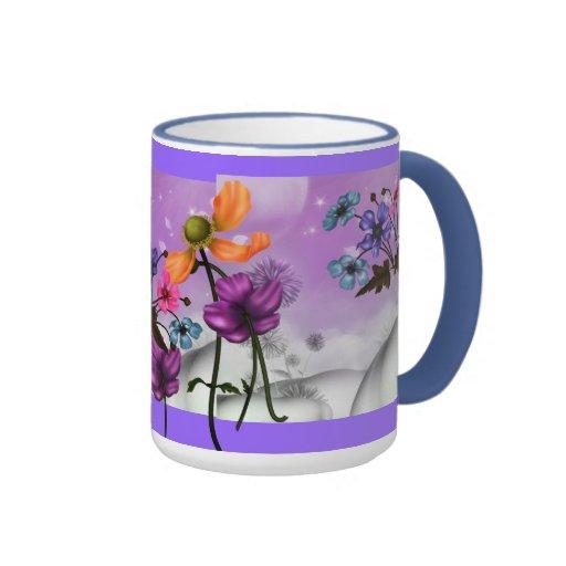 Mug Cup Mauve Pink Blue Garden Floral Coffee Mugs