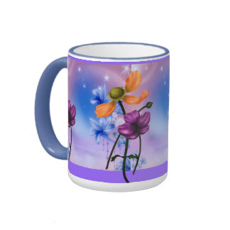 Mug Cup Mauve Pink Blue Garden Floral Mug