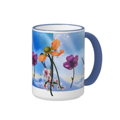 Mug Cup Pink Blue Garden Floral Coffee Mugs