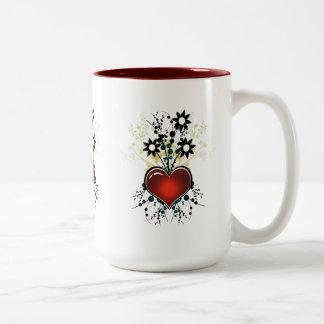 Mug Cup Red Love Hearts Floral 2 Coffee Mug