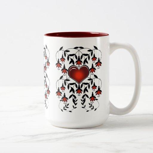 Mug Cup Red Love Hearts Floral 3 Mug