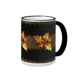 Mug Cup Xmas Gold Holly Red Black Coffee Mugs
