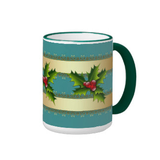 Mug Cup Xmas Green Holly Coffee Mug