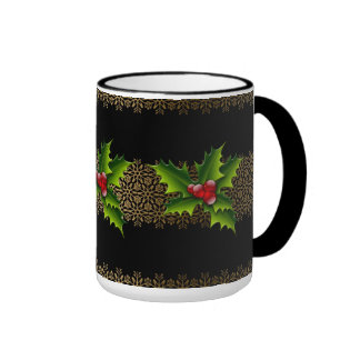 Mug Cup Xmas Green Holly Coffee Mugs