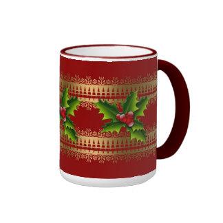 Mug Cup Xmas Green Holly Red Mug