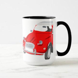 Mug decorated with Bright Red Citroen 2 CV Car