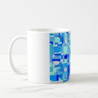 mug decorated with geometric reasons in blue