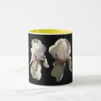 Mug detailed photograph of a 2 white irises