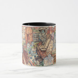 Mug drawing of eclectic village done with pastels