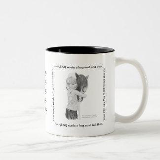 Mug, Everyone needs a hug now and then Two-Tone Coffee Mug
