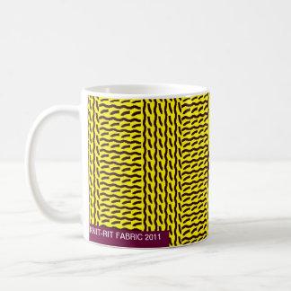 Mug Faux knit - nervurez brun jaune/foncé de point, -