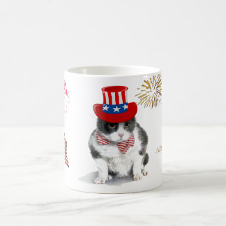 mug: Feisty Felix, the cat, on the 4th of July Coffee Mug