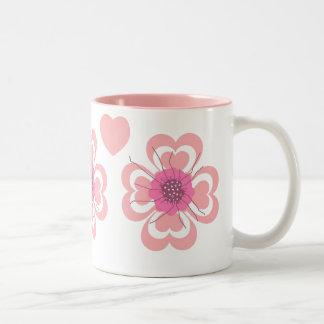 Mug Flowers Pink Hearts Valentine's Day ZIZZAGO